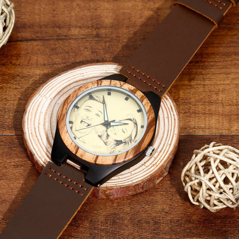 Men's Engraved Wooden Photo Watch Brown Leather Strap
