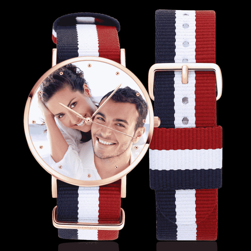 Unisex Engraved Rose Goldtone Photo Watch Color Nylon Strap 40mm