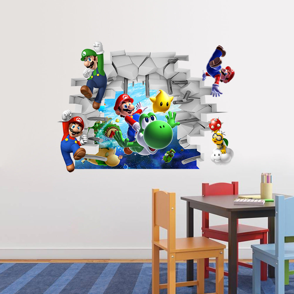 ZY1440 foreign trade cartoon Mario wall stickers children 3D stereo wall stickers Super Mary decorative painting