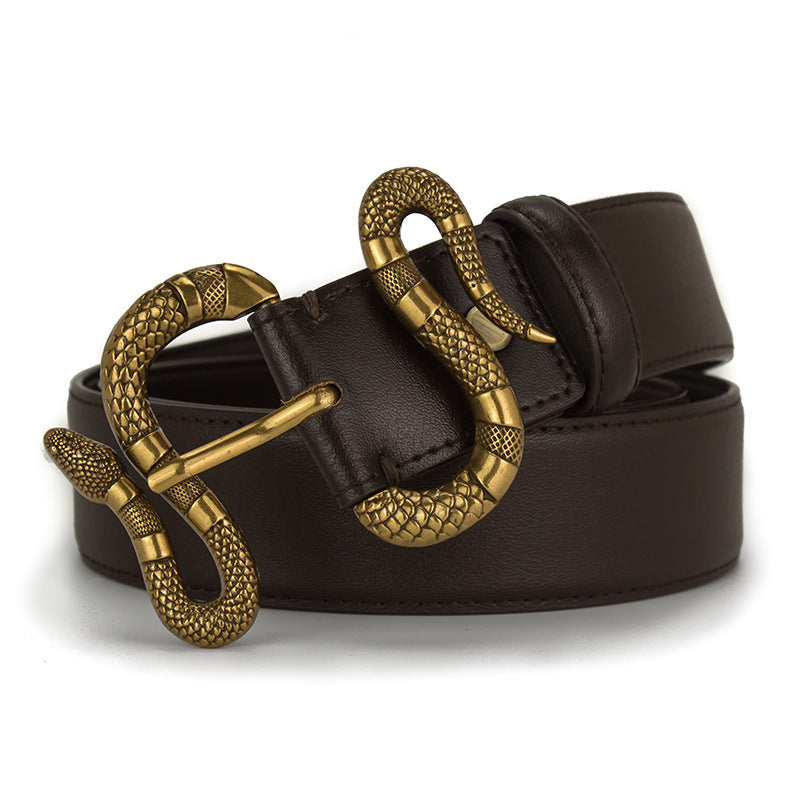 Snake head pin buckle belt