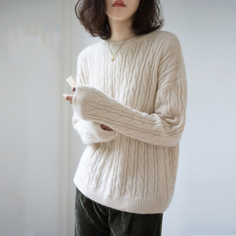Round neck loose linen pattern sweater