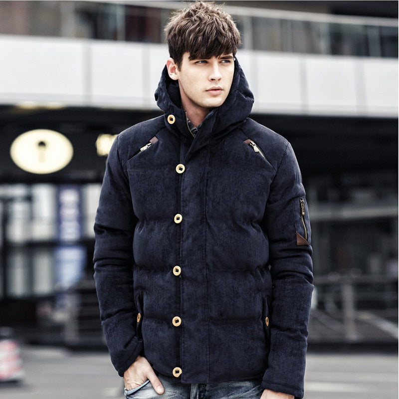 Autumn and winter men's hooded padded corduroy down cotton men's casual wild trend coat