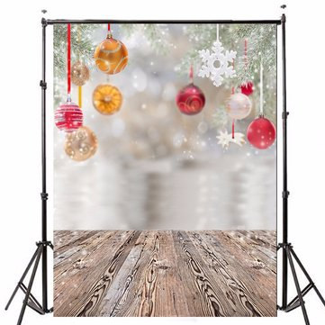 5x7FT Vinyl Christmas Tree Studio Photography Backdrop Wooden Floor Background