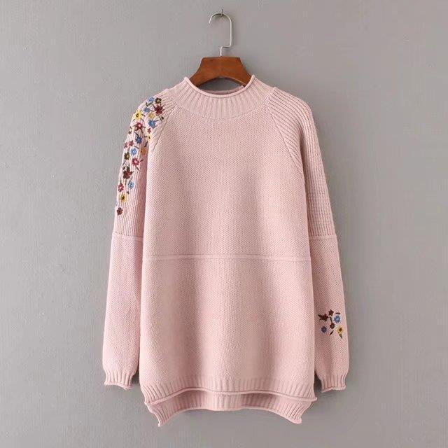 Half Turtleneck Floral Sweater