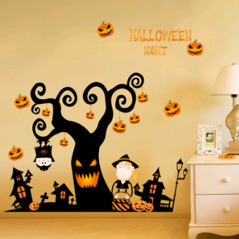 Halloween wall sticker glass sticker shop window decoration sticker, removable pumpkin decoration