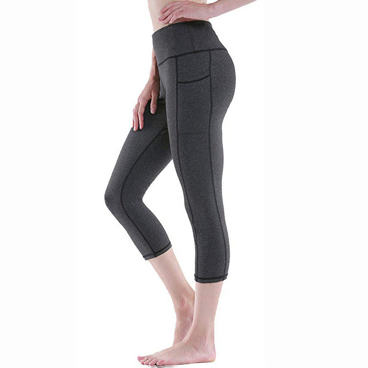 Solid color yoga pants for women with pockets