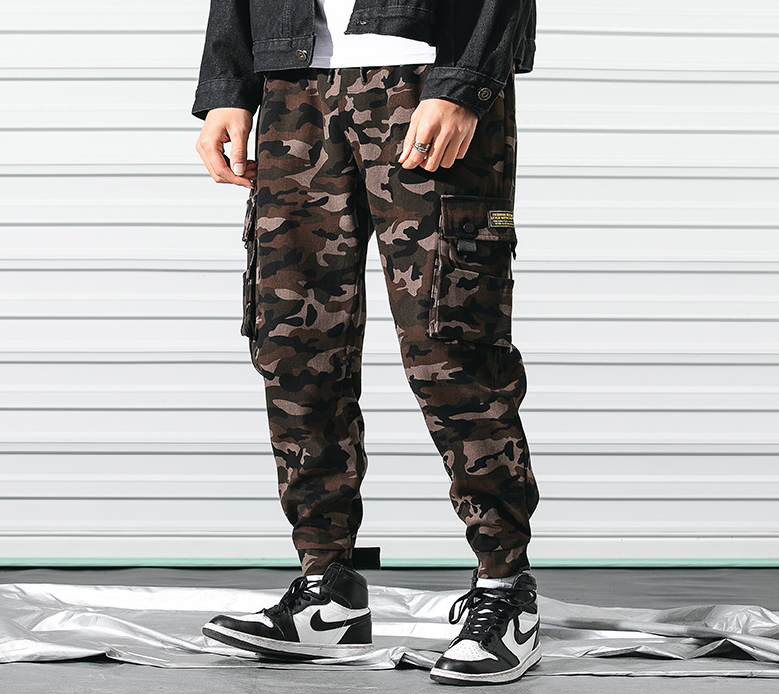 Camouflage tooling pants, men's casual sports long pants