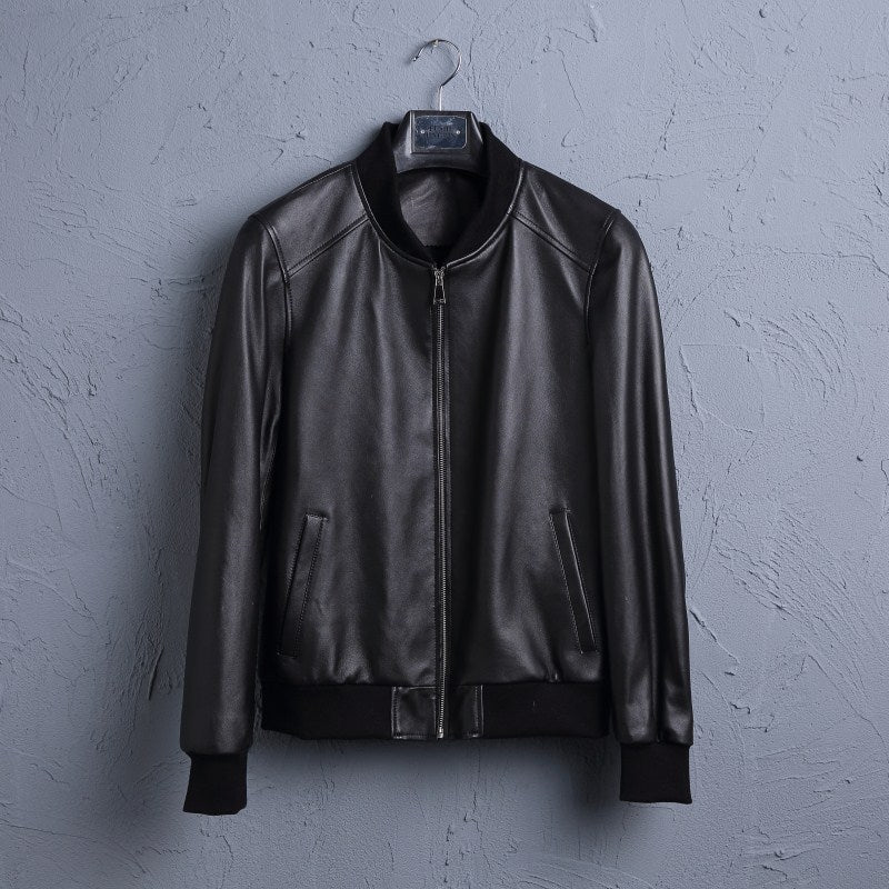 Leather Leather Men's Short Sheepskin Motorcycle Leather Jacket Baseball Uniform Jacket