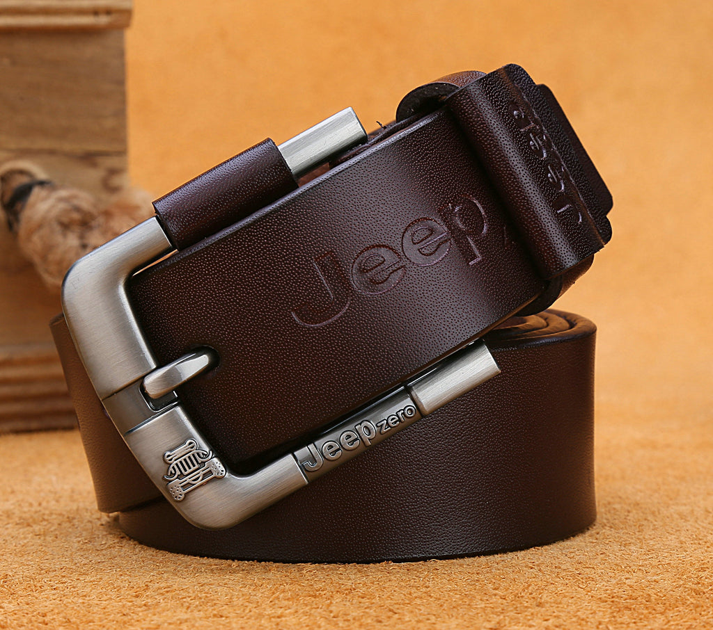 JEEPzero sent new men's belt leather belt buckle needle in young cattle leather belt