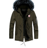 Winter new warm casual men's cotton coat thick long hair fur collar coat
