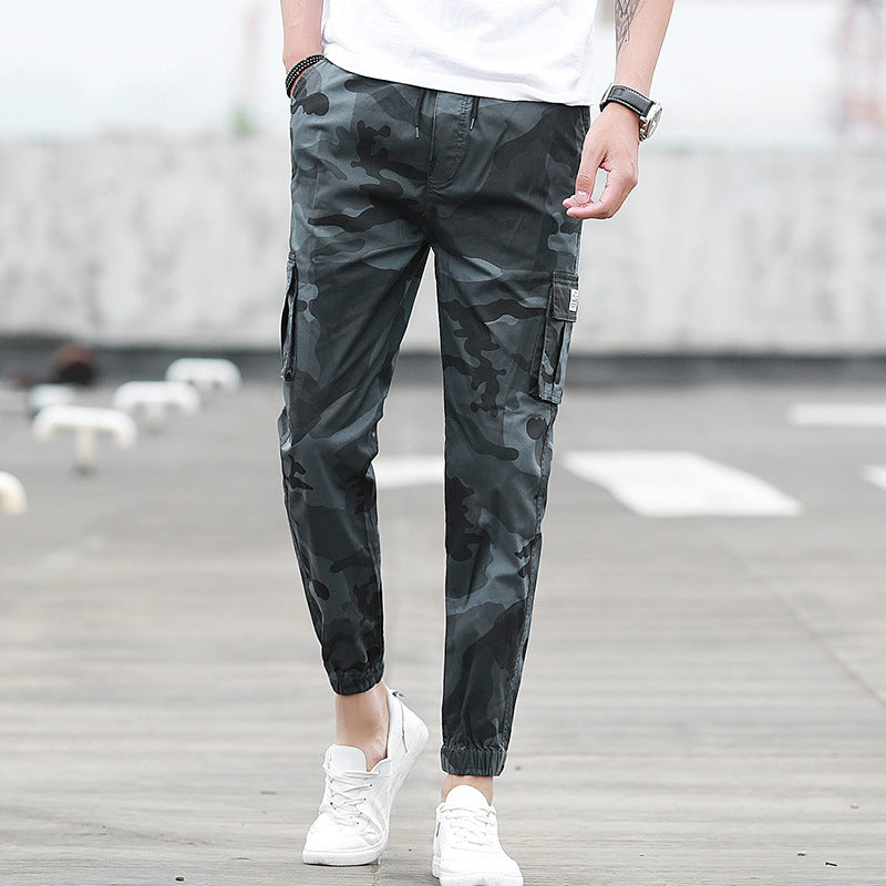 Camouflage tooling multi-pocket pants feet feet pants pants nine pants