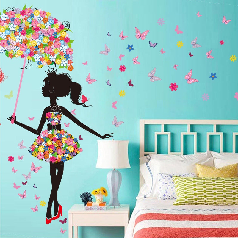 Elf umbrella creative wall sticker