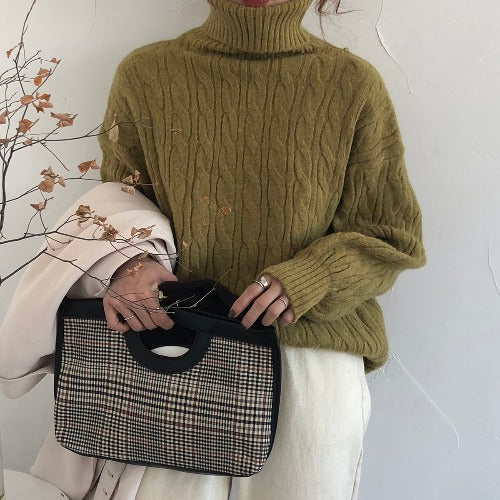 Retro loose thick twist pullover sweater coat