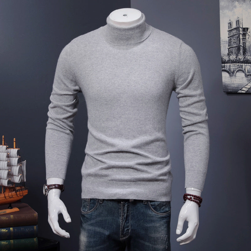 Men's Turtleneck Sweater Pullover Solid Warm Wool Knit