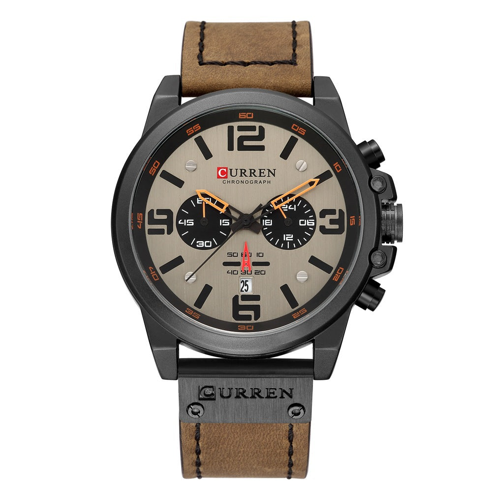 Sports six-pin quartz watch calendar men's watch