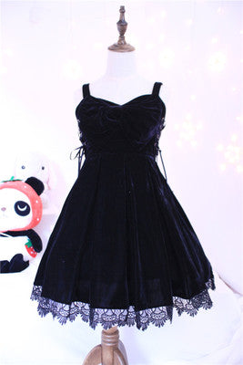 Elegant & Cute Women's Big Bow Suspender Winter Velvet Dress Lace Trim Cross Tie Lolita Dress One Piece Black & Wine Red
