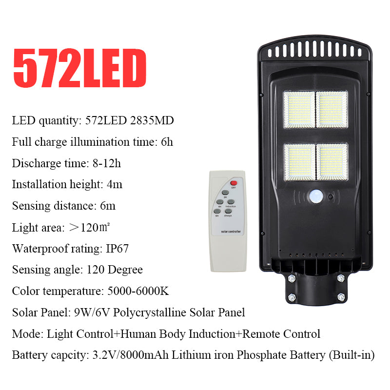 286/572/858LED Solar Street Light Radar Motion Sensor Outdoor Wall Lamp with Timing Function + Remote Control
