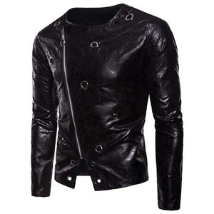 Punk metal rivet crossbody zipper leather men's leather jacket