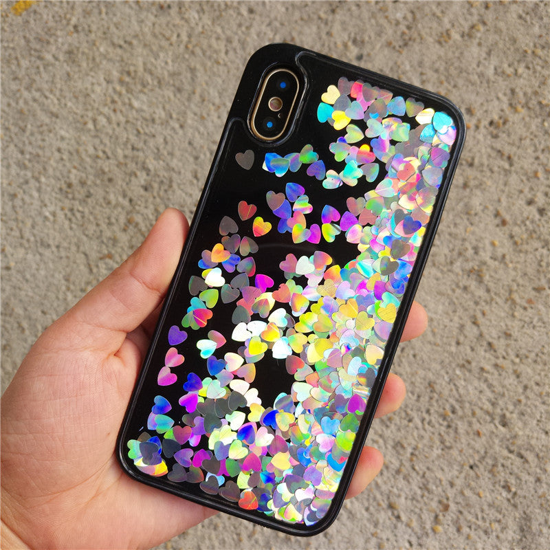 The new iPhoneX flash powder sand floating iPhone78/8 plus love sequins heart protective sleeve