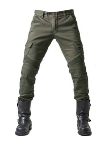 Army green denim jeans with locomotive pad