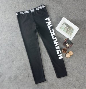 Letters Stars Teeth reflective three-pole digital printing men and women Korean casual bottoming trousers