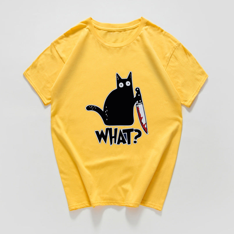 Cat knives print T-shirt