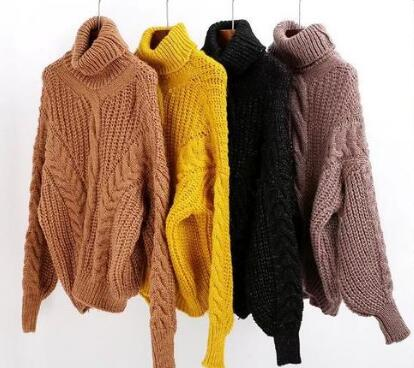 Knitted Pattern Turtleneck Sweater