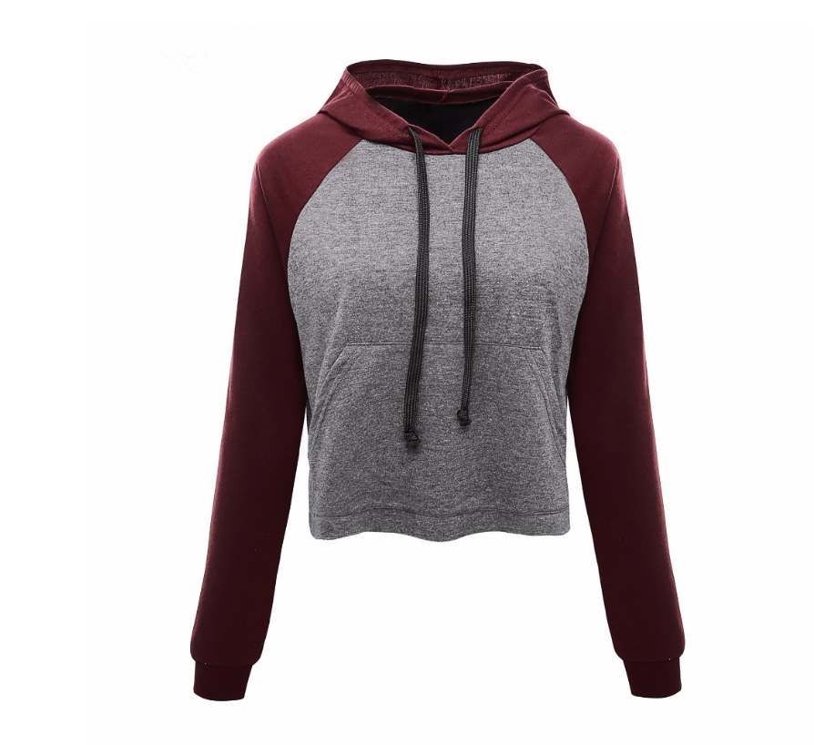 New long-sleeved hooded sweater women's contrast color short casual T-shirt