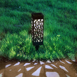 Solar Powered Outdoor LED Lawn Light Waterproof Hollow Garden Lamp Yard Path Decor