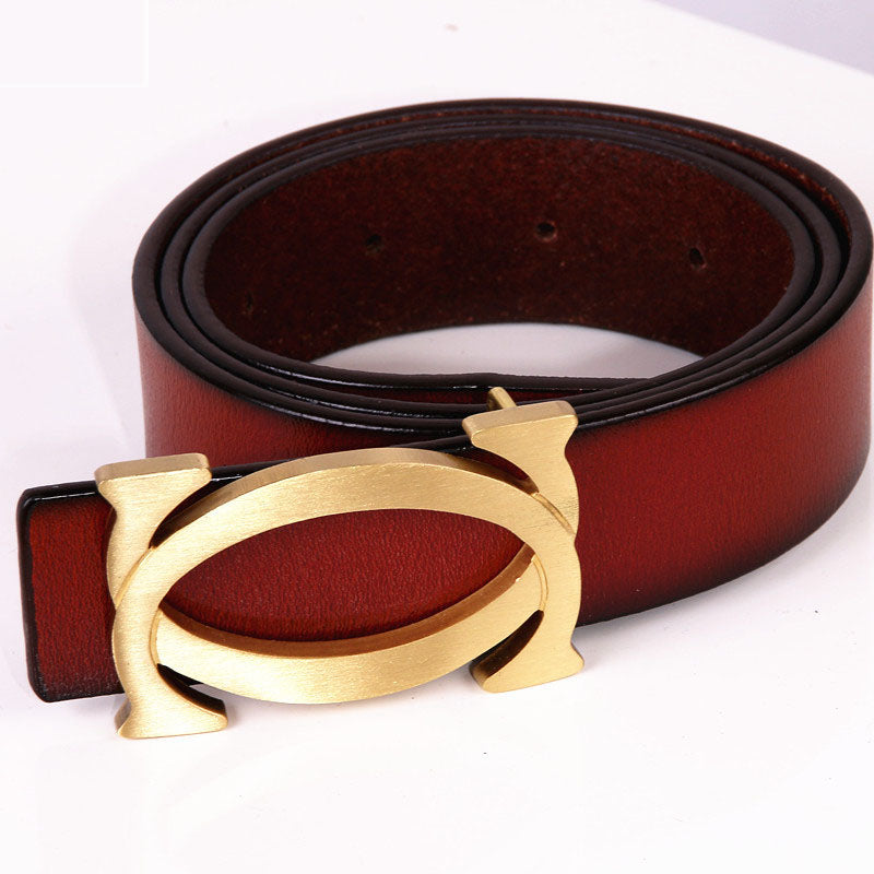 Men's two-layer leather belt buckle