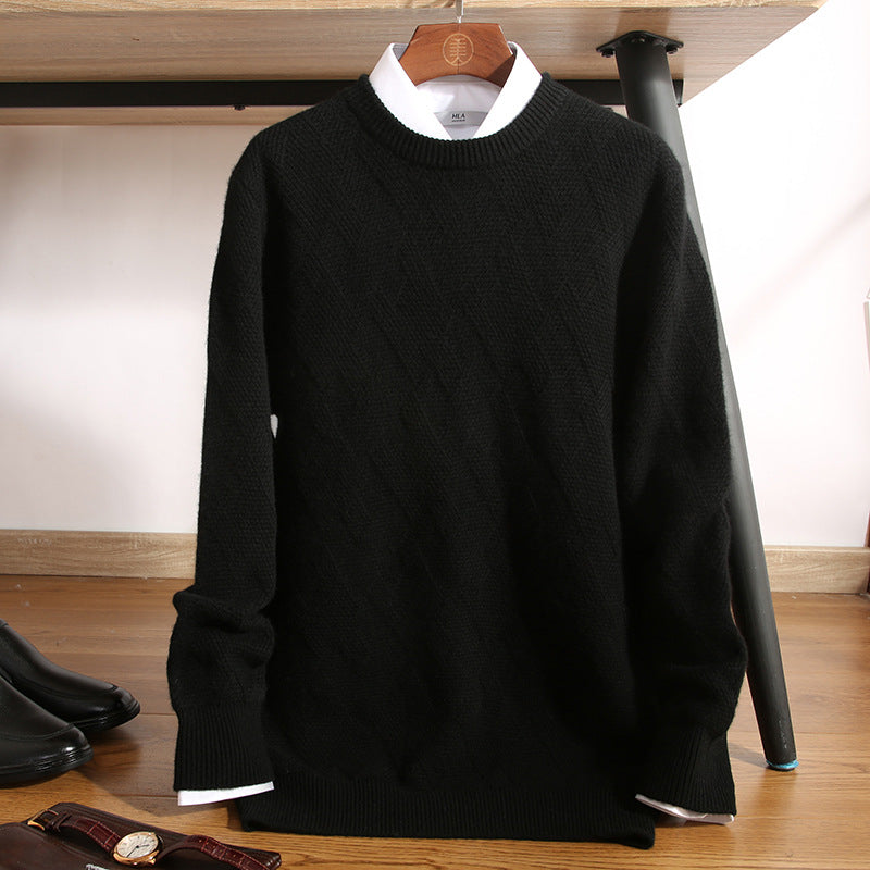 Men's double-strand thick pure wool sweater