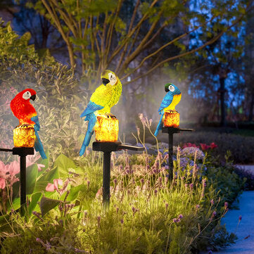 Solar Powered LED Parrot Lawn Light Waterproof Garden Landscape Lamp Outdoor Decor