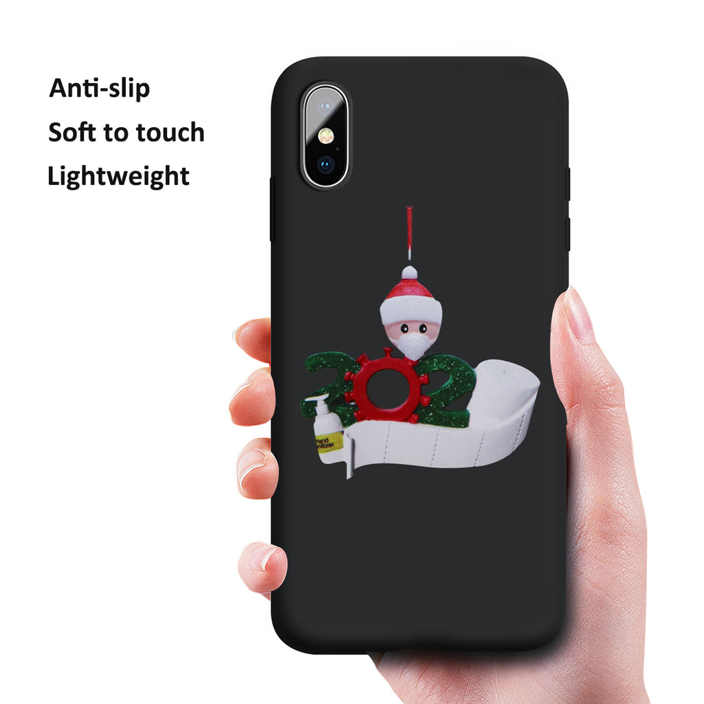HEKIWAY iPhone X Case,iPhone Xs Case, Liquid Silicone Gel Rubber Full Body Protection Shockproof Case with Personalized Quarantine 2020 Christmas Ornament for iPhone Xs/iPhone X 5.8 inch