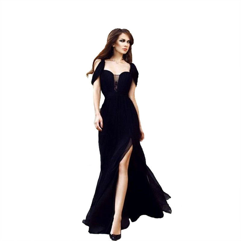 Amazon cross-border creative models Europe and the United States chiffon long skirt evening dress black lace women's dress wholesale