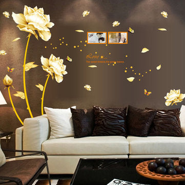 Gold Flower Decal Mural PVC Wall Sticker Removable Art Wall Living Room Decor