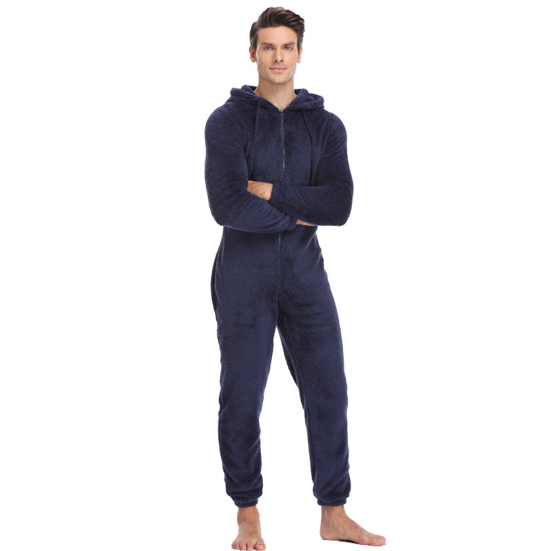 Men's autumn and winter warmth one-piece pajamas
