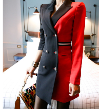 European station ladies temperament OL professional small suit color matching long-sleeved double-breasted suit collar fashion dress