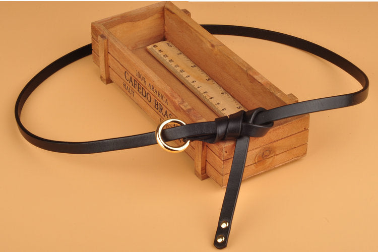 Round button top leather belt