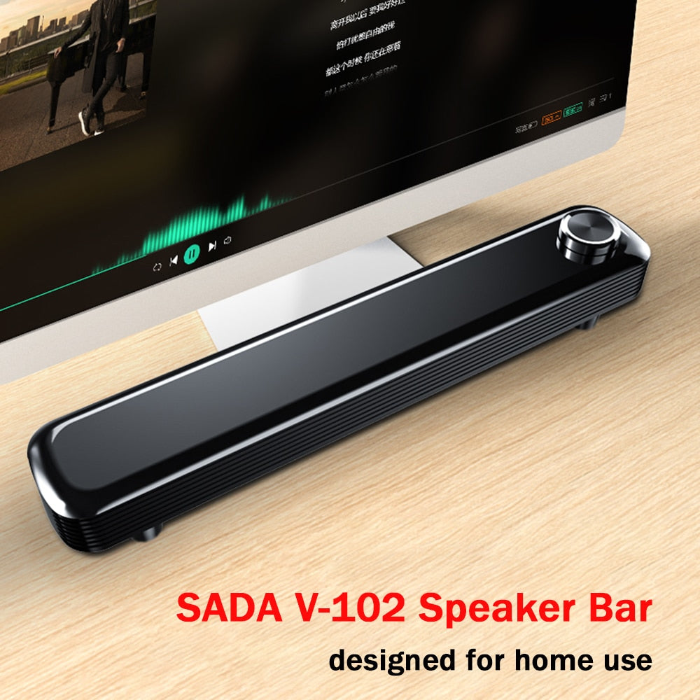 SADA V-102 Speaker Bar Computer Speakers Wired Computer Sound Bar with 2*3.5mm Audio Cable for Mic Stereo USB Powered Soundbar