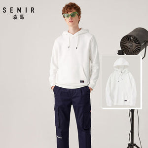 SEMIR Hoodies Men Fleece Lined Hooded Sweatshirt Pocket Cotton Pullover Hoodies Elastic Hood Ribbed Cuff sweatshirt