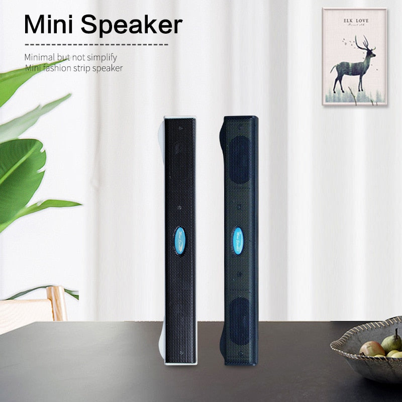 New Professional Fashion Black Portable Laptop/Computer/PC Speaker USB Sound Bar Stick Music Player Speakers For Tablet Speakers