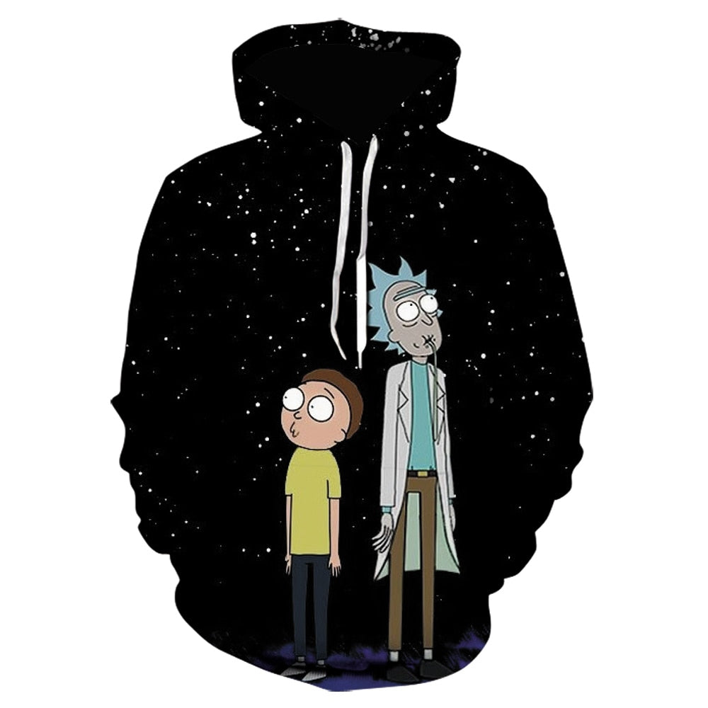 2020 New Rick Hoodie Men's cartoon anime Hooded Sweatshirt Men And Women Space Galaxy Hoodies Male black streetwear oversized