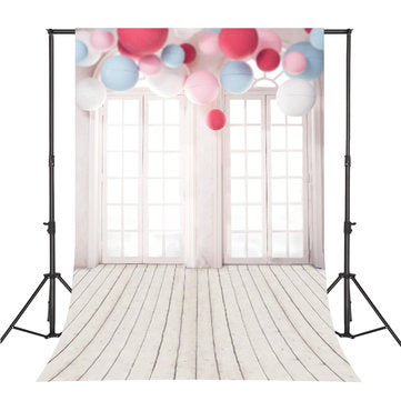 5x7FT Vinyl Balloon Windows Wood Floor Photography Backdrop Background Studio Prop
