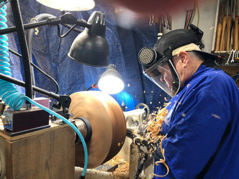 Master Woodturner Earl Bartell at Work on His Lathe