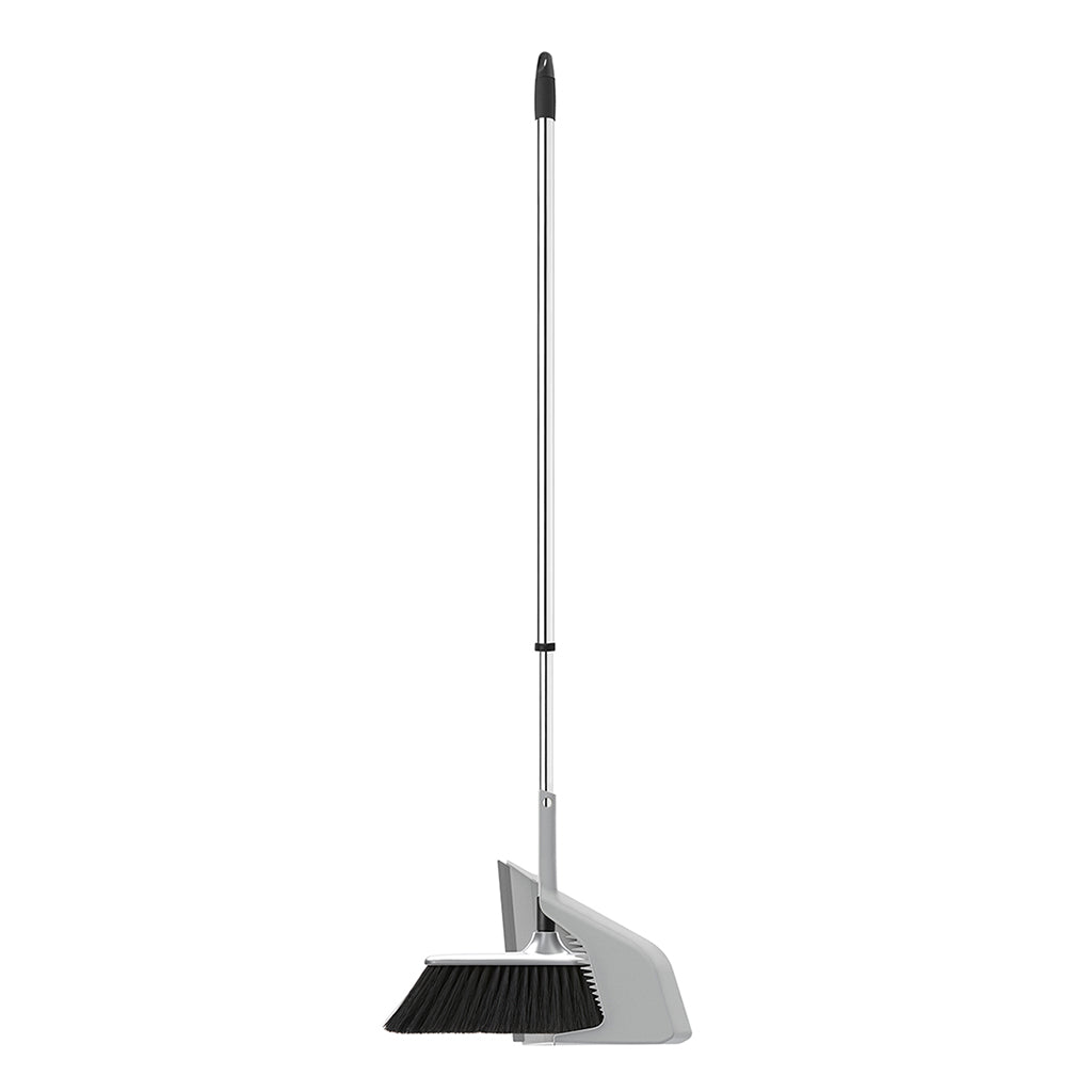 "SUPERSLIM BROOM WITH ""BROOMHOLDER"" DUSTPAN AND  TELESCOPIC CHROMED HANDLE"