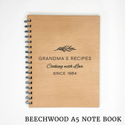 Wooden Engraved Note Book - Cooking with Love