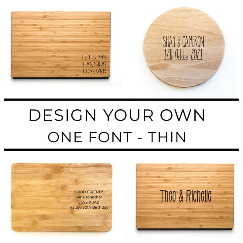 Personalised Chopping Board - One Font - Thin Font