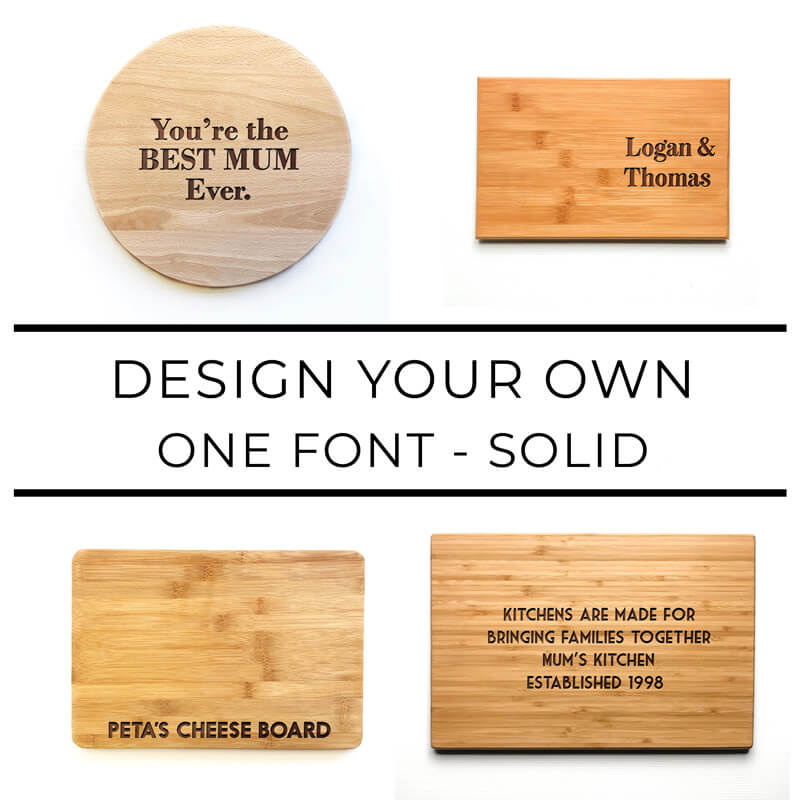 Personalised Chopping Board - One Font - Solid Font