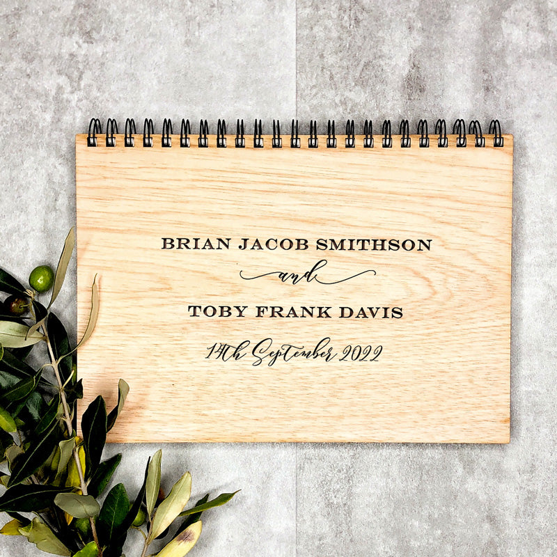 Wooden Wedding Engraved Book - Engrave Names