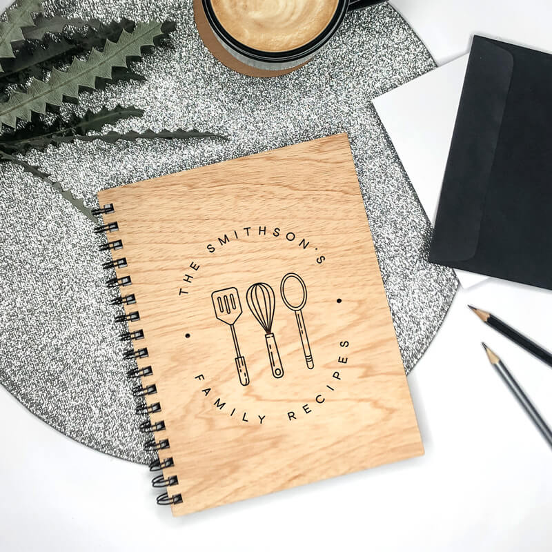 Wooden Engraved Note Book - Family Recipes